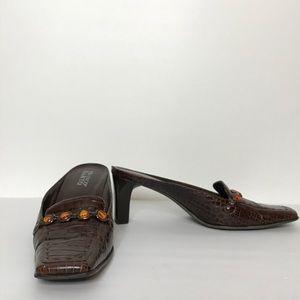 Franco Sarto Heeled Mules 8 1/2N Embossed Leather